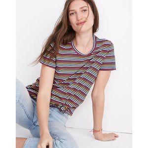 Madewell Rainbow Stripe Knot-Front Tee